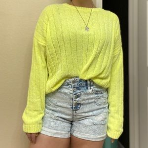3/$15 ✨ Neon yellow chenille sweater